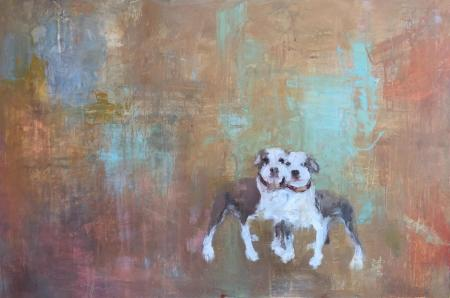 painting of pitbull dog mirrored images