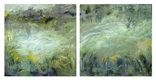 Pond Foggy Day, diptych